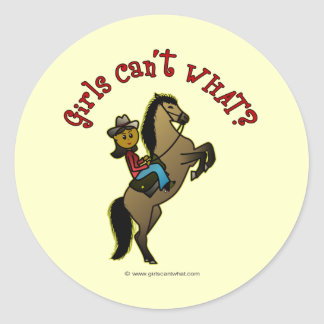 Dark Cowgirl on Horse Classic Round Sticker