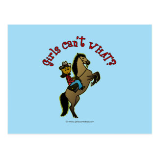 Dark Cowgirl on Horse Postcard