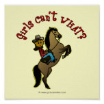 Dark Cowgirl on Horse Poster