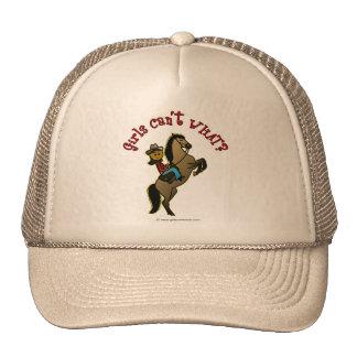 Dark Cowgirl on Horse Trucker Hat