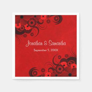 Dark Crimson Red Floral Goth Wedding Paper Napkin