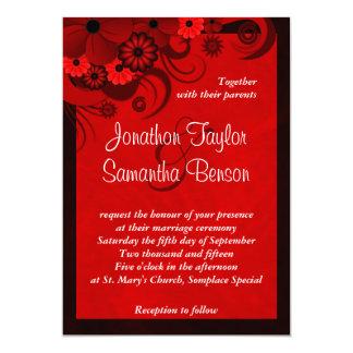 Dark Crimson Red Floral Gothic Wedding Invitation