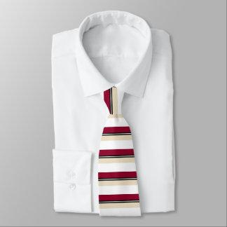 Dark Crimson White Black & Gold Striped Tie