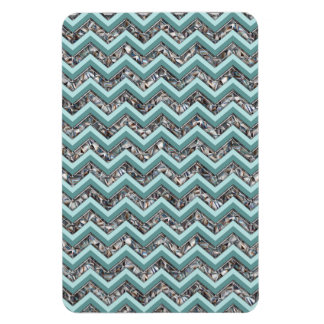 Dark Cut Glass and Teal Zigzag Flexible Magnet