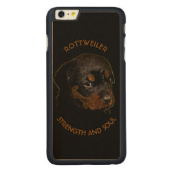 Carved iPhone 6 Plus Slim Wood Case with Rottweiler Phone Cases design