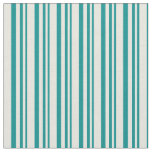 [ Thumbnail: Dark Cyan and Beige Colored Stripes Pattern Fabric ]