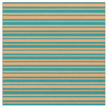 [ Thumbnail: Dark Cyan and Brown Colored Striped Pattern Fabric ]