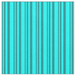 [ Thumbnail: Dark Cyan and Cyan Colored Stripes/Lines Pattern Fabric ]