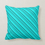 [ Thumbnail: Dark Cyan and Cyan Colored Stripes/Lines Pattern Throw Pillow ]