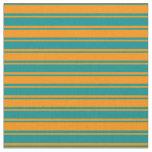[ Thumbnail: Dark Cyan and Dark Orange Colored Stripes Fabric ]