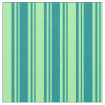 [ Thumbnail: Dark Cyan and Green Colored Stripes Fabric ]