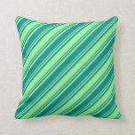 [ Thumbnail: Dark Cyan and Green Colored Stripes Throw Pillow ]