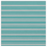 [ Thumbnail: Dark Cyan and Grey Colored Stripes/Lines Pattern Fabric ]