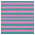 [ Thumbnail: Dark Cyan and Hot Pink Striped Pattern Fabric ]