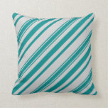 [ Thumbnail: Dark Cyan and Light Gray Lined/Striped Pattern Throw Pillow ]