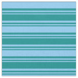 [ Thumbnail: Dark Cyan and Light Sky Blue Pattern of Stripes Fabric ]