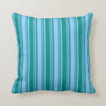 [ Thumbnail: Dark Cyan and Light Sky Blue Pattern of Stripes Throw Pillow ]