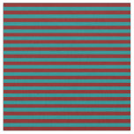 [ Thumbnail: Dark Cyan and Maroon Colored Lined Pattern Fabric ]