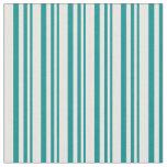 [ Thumbnail: Dark Cyan and Mint Cream Stripes Pattern Fabric ]