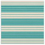 [ Thumbnail: Dark Cyan and Tan Lines/Stripes Pattern Fabric ]