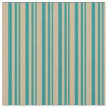 [ Thumbnail: Dark Cyan and Tan Striped/Lined Pattern Fabric ]