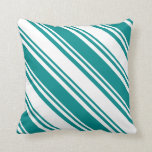 [ Thumbnail: Dark Cyan and White Lines Pattern Throw Pillow ]