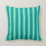 [ Thumbnail: Dark Cyan & Aquamarine Colored Stripes Pillow ]