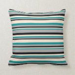 [ Thumbnail: Dark Cyan, Beige, Black, and Dark Grey Colored Throw Pillow ]