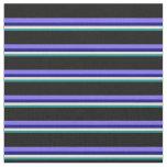 [ Thumbnail: Dark Cyan, Beige, Blue, Medium Slate Blue & Black Fabric ]