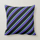 [ Thumbnail: Dark Cyan, Beige, Blue, Medium Slate Blue & Black Throw Pillow ]