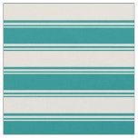 [ Thumbnail: Dark Cyan & Beige Colored Lined Pattern Fabric ]