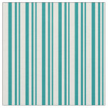 [ Thumbnail: Dark Cyan & Beige Colored Pattern of Stripes Fabric ]
