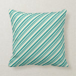 [ Thumbnail: Dark Cyan & Beige Colored Pattern of Stripes Throw Pillow ]