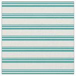 [ Thumbnail: Dark Cyan & Beige Colored Stripes Pattern Fabric ]