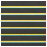 [ Thumbnail: Dark Cyan, Beige, Yellow & Black Lined Pattern Fabric ]