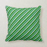[ Thumbnail: Dark Cyan, Bisque, and Green Stripes Pattern Throw Pillow ]
