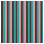 [ Thumbnail: Dark Cyan, Black, and Light Coral Pattern Fabric ]