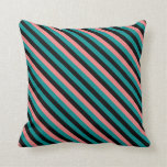 [ Thumbnail: Dark Cyan, Black, and Light Coral Pattern Pillow ]