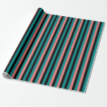 [ Thumbnail: Dark Cyan, Black, and Light Coral Pattern Wrapping Paper ]