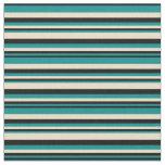 [ Thumbnail: Dark Cyan, Black & Tan Pattern of Stripes Fabric ]