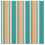 [ Thumbnail: Dark Cyan, Brown & Light Cyan Colored Stripes Fabric ]