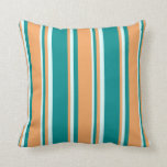 [ Thumbnail: Dark Cyan, Brown & Light Cyan Colored Stripes Throw Pillow ]