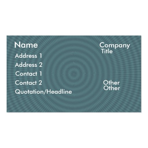 Dark cyan circles and rays retro business card template