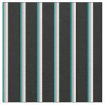 [ Thumbnail: Dark Cyan, Dark Grey, Light Cyan & Black Lines Fabric ]