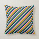 [ Thumbnail: Dark Cyan, Dark Orange, Mint Cream, Violet & Black Throw Pillow ]