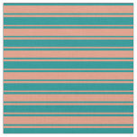 [ Thumbnail: Dark Cyan & Dark Salmon Lines Fabric ]
