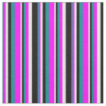 [ Thumbnail: Dark Cyan, Fuchsia, Beige & Black Pattern Fabric ]