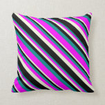 [ Thumbnail: Dark Cyan, Fuchsia, Beige & Black Pattern Pillow ]
