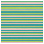 [ Thumbnail: Dark Cyan, Green & Pink Stripes/Lines Pattern Fabric ]