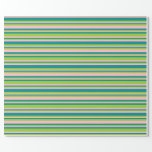 [ Thumbnail: Dark Cyan, Green & Pink Stripes/Lines Pattern Wrapping Paper ]